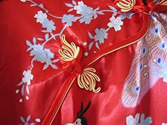 赤 XL 【美々杏】ロング丈 チャイナドレス サテン つるつる 孔雀と牡丹模様 コスプレ ハロウィン 舞台衣装 (赤, XL)_画像4