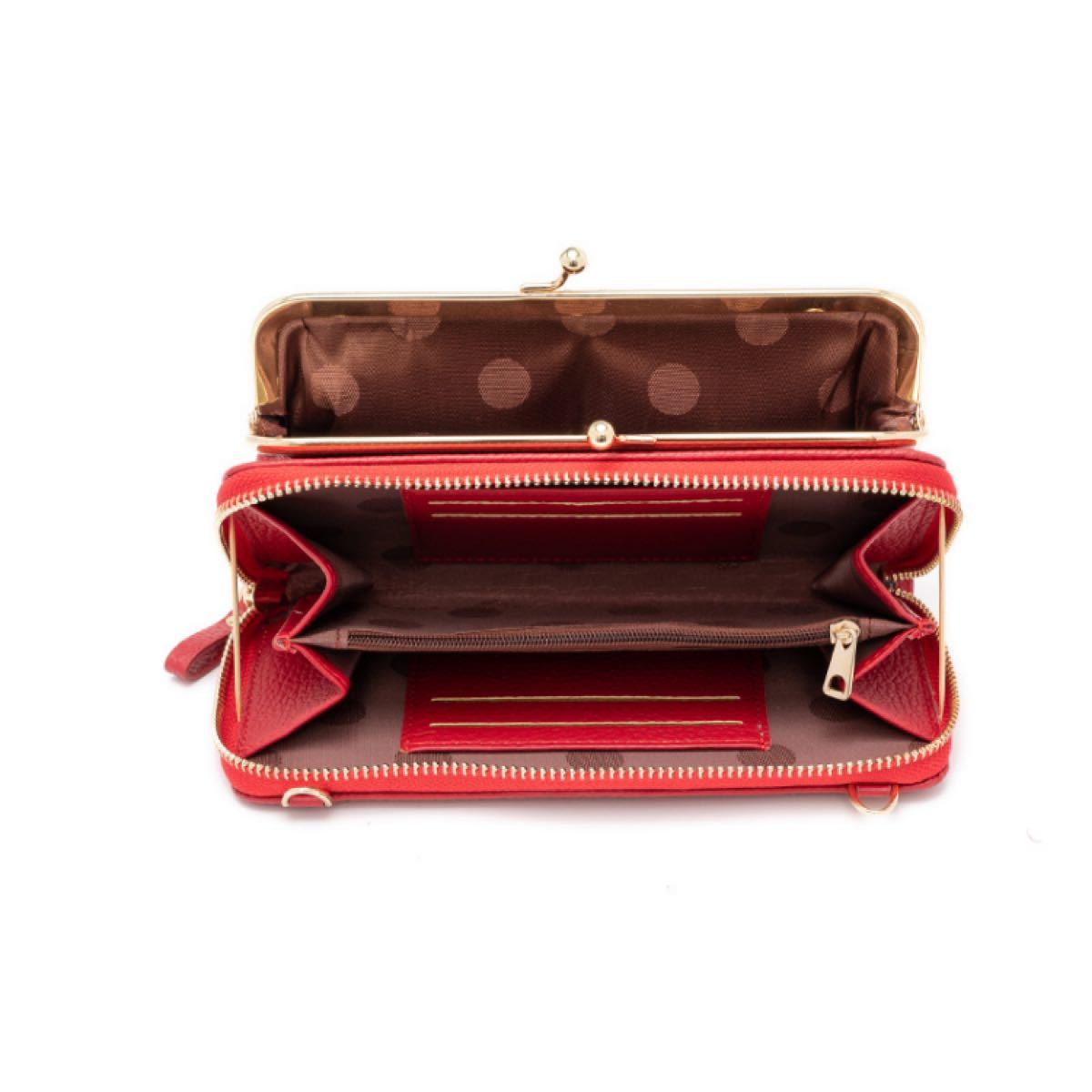 ショルダーバッグ お財布ポシェット がま口バッグ レッド 赤 ショルダーバッグ お財布ポシェット スマホポーチ