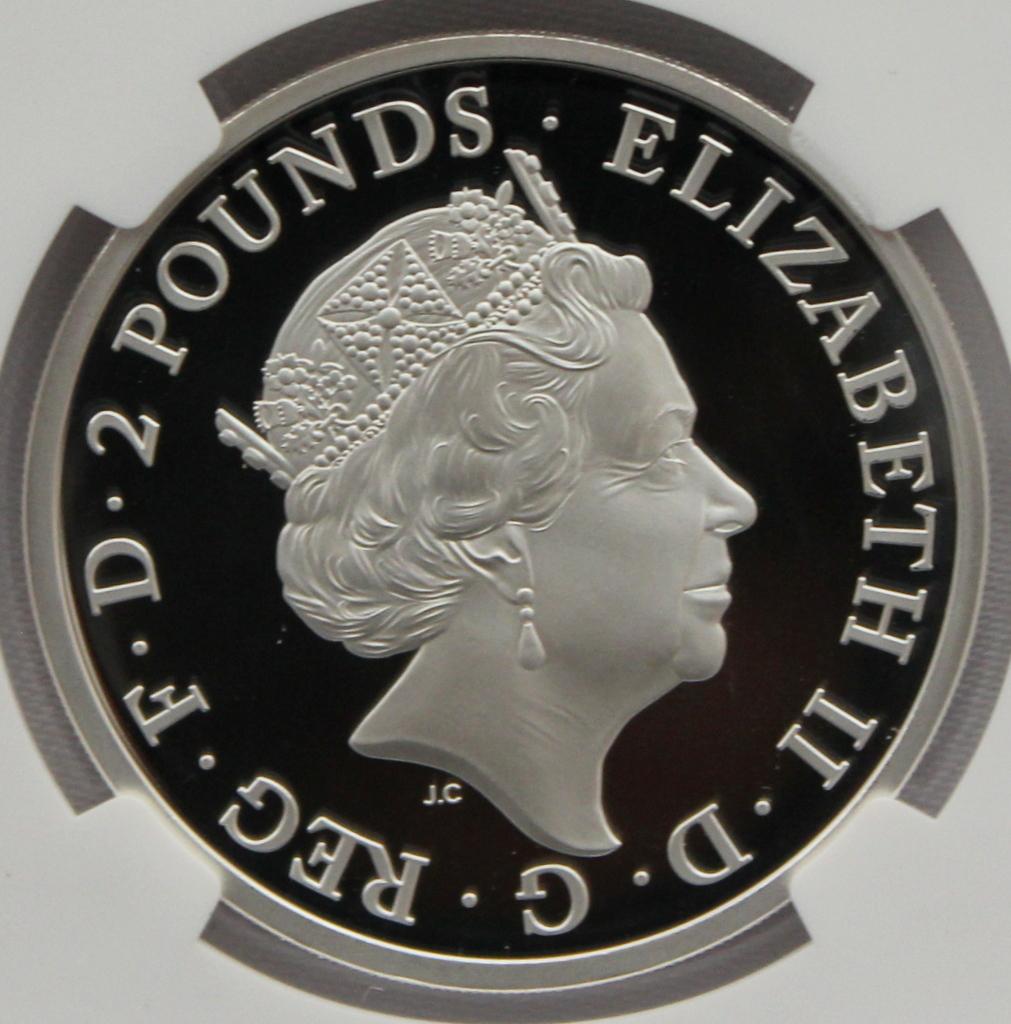 2021 イギリス クイーンズビースト コンプリーター 2ポンド 銀貨 NGC PF70UC 最高鑑定品!!_画像2