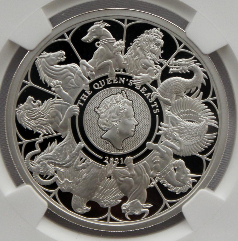 2021 イギリス クイーンズビースト コンプリーター 2ポンド 銀貨 NGC PF70UC 最高鑑定品!!_画像1