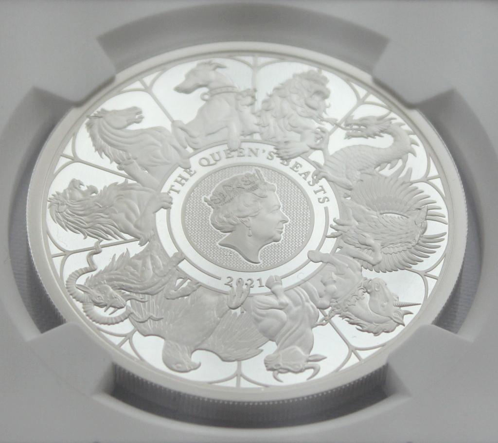 2021 イギリス クイーンズビースト コンプリーター 2ポンド 銀貨 NGC PF70UC 最高鑑定品!!_画像5