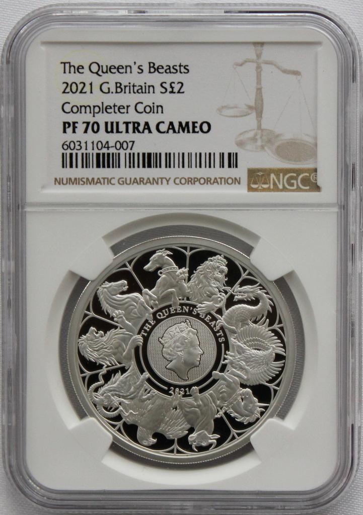 2021 イギリス クイーンズビースト コンプリーター 2ポンド 銀貨 NGC PF70UC 最高鑑定品!!_画像8