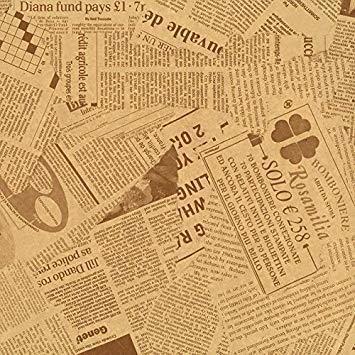 セピア 【フジパック】 英字新聞紙柄 包装紙 ラッピングペーパー 100枚 おしゃれでかわいいデザイン お花/プレゼント/ギフ_画像1