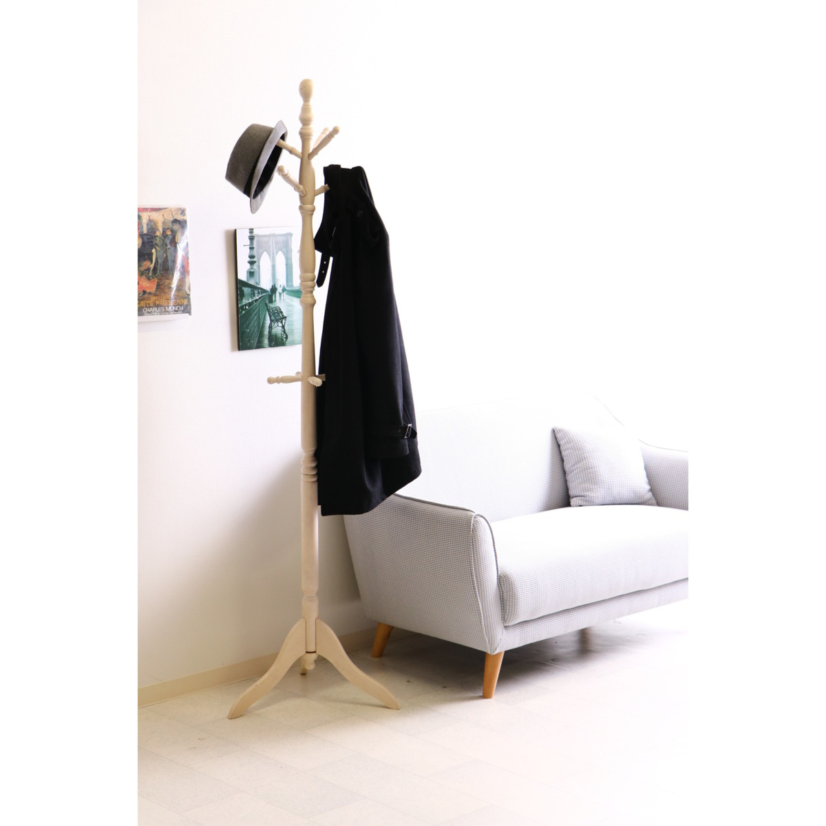 送料無料/極太 木製ラバーウッド ポール コートハンガー ハンガーラック アンティーク風 家具 インテリア 幅51cm 高さ183cm ホワイト/新品_画像8