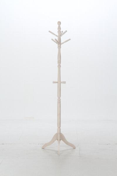 送料無料/極太 木製ラバーウッド ポール コートハンガー ハンガーラック アンティーク風 家具 インテリア 幅51cm 高さ183cm ホワイト/新品_玄関に!