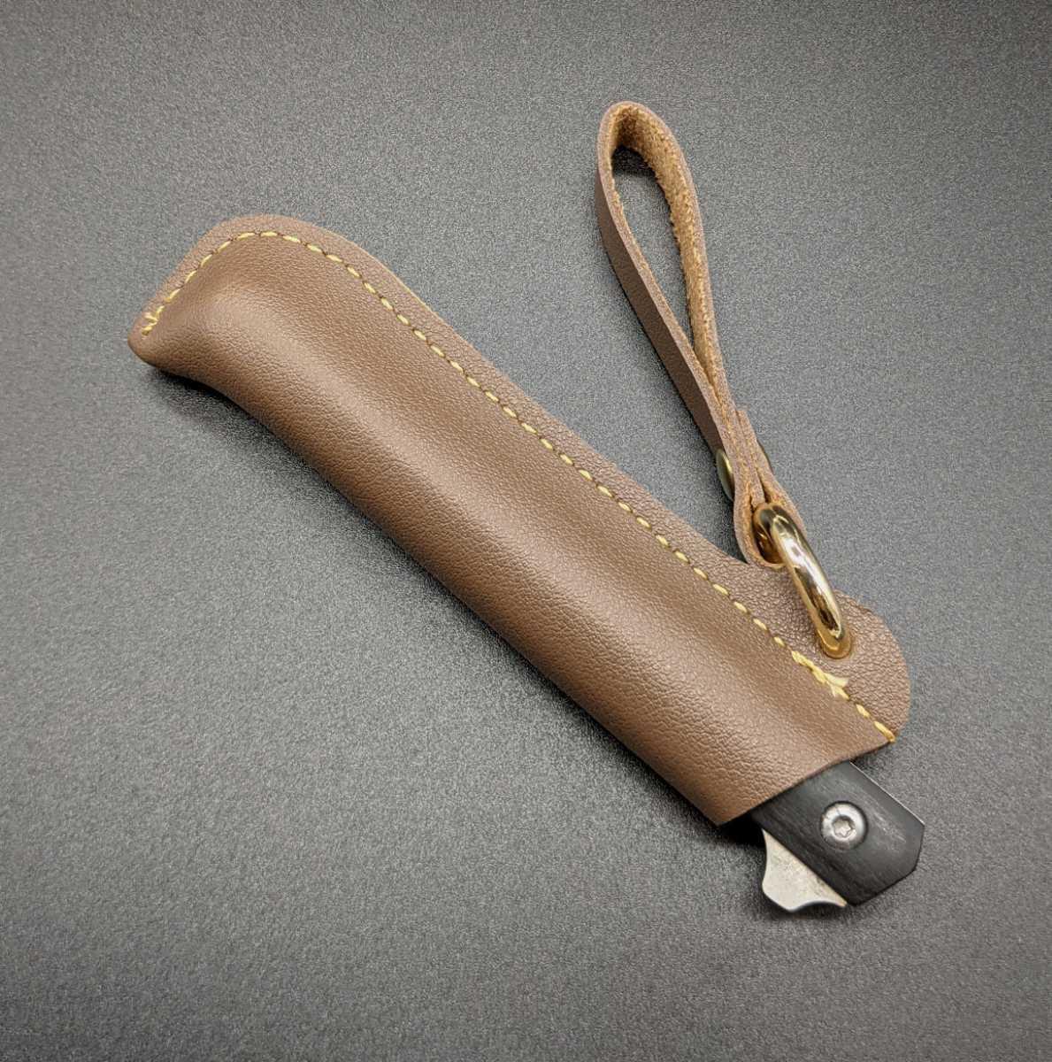 1378125 折り畳み ウッドハンドル サバイバルナイフ レザーケース付き アウトドア用小型ナイフ フィッシュナイフ  ベアリング 黒