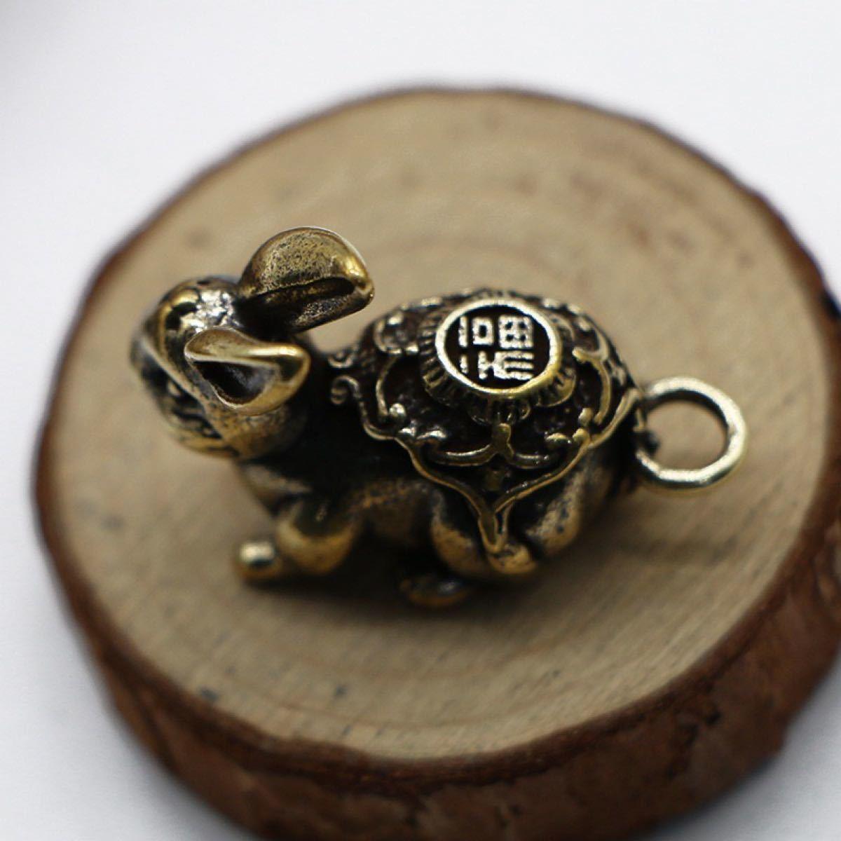 真鍮 干支 ウサギペンダント キーホルダー うさぎ 兎 キーリング キーチェーン