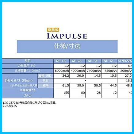 TOSHIBA ニッケル水素電池 充電式IMPULSE 高容量タイプ 単1形充電池(min.8,000mAh) 1本 TNH-1A_画像6