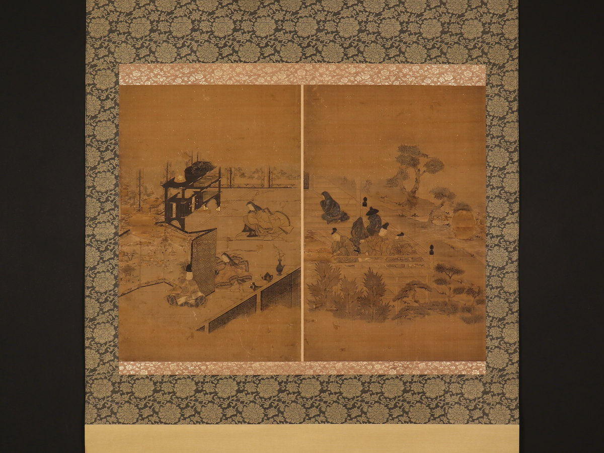 【1円開始】【伝来】mz4550 大幅 大和絵 物語絵 人物図 襖絵 引手跡あり