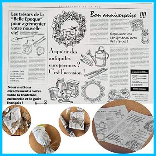 【送料無料-特価】 お花やプレゼント,ギフト商品のラッピングに! フランスの新聞紙風プリント 【ノーブランド】 G1417 100枚 包装紙 英字_画像1
