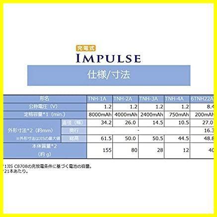 ★本日限定★単3形充電池(min.2,400mAh) 充電式IMPULSE ニッケル水素電池 TOSHIBA 高容量タイプ TNH-3A HY-PO 4本 4P_画像5