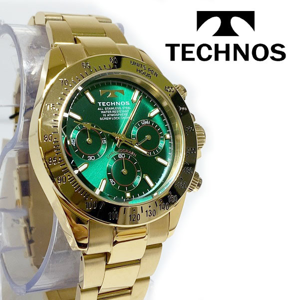 【1円新品正規品】[テクノス]TECHNOSクロノグラフ金メンズ男性ダイバー腕時計ギフトとけいゴールド×グリーン緑100m防水ダイバー紳士ギフト_画像5