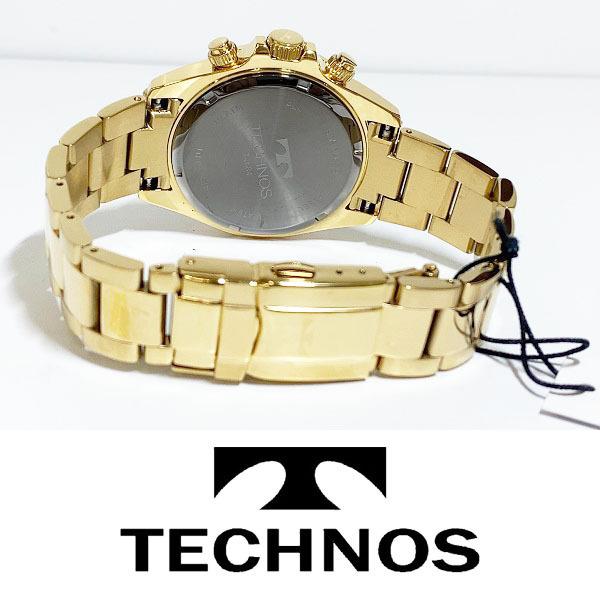 【1円新品正規品】[テクノス]TECHNOSクロノグラフ金メンズ男性ダイバー腕時計ギフトとけいゴールド×グリーン緑100m防水ダイバー紳士ギフト_画像6