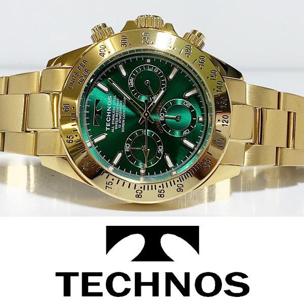 【1円新品正規品】[テクノス]TECHNOSクロノグラフ金メンズ男性ダイバー腕時計ギフトとけいゴールド×グリーン緑100m防水ダイバー紳士ギフト_画像3