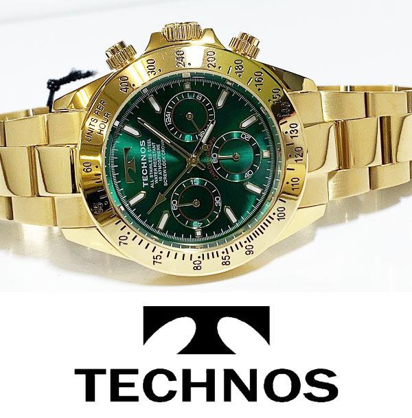 【1円新品正規品】[テクノス]TECHNOSクロノグラフ金メンズ男性ダイバー腕時計ギフトとけいゴールド×グリーン緑100m防水ダイバー紳士ギフト_画像4