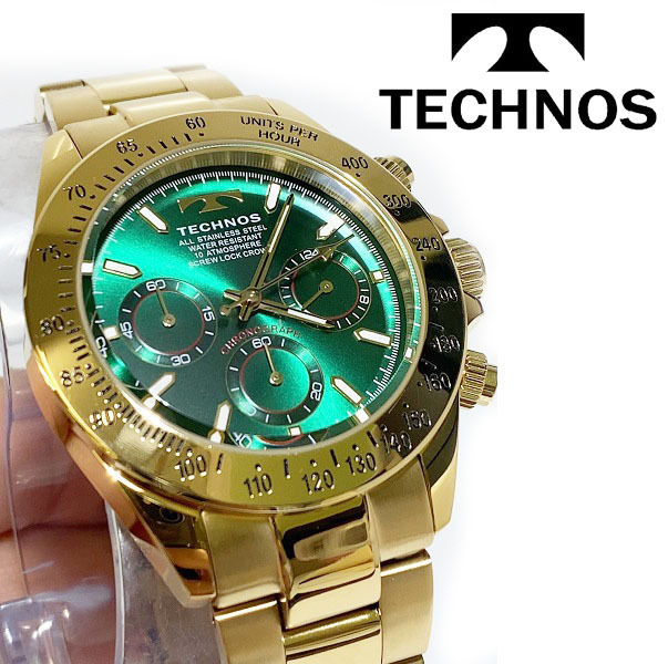 【1円新品正規品】[テクノス]TECHNOSクロノグラフ金メンズ男性ダイバー腕時計ギフトとけいゴールド×グリーン緑100m防水ダイバー紳士ギフト_画像2