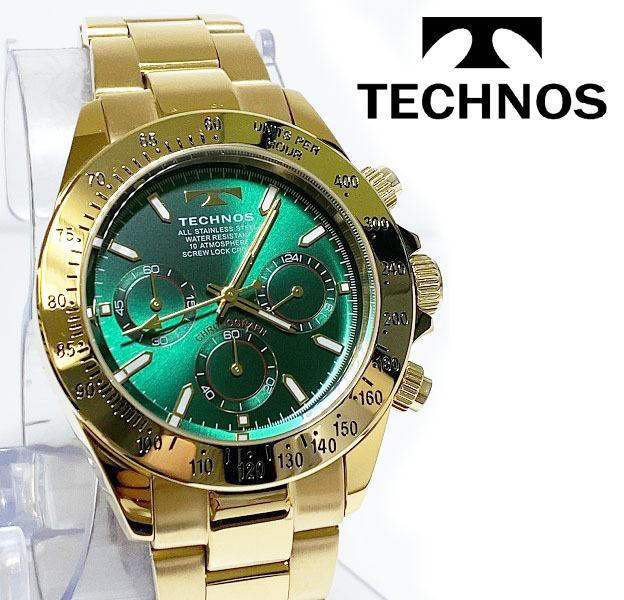 【1円新品正規品】[テクノス]TECHNOSクロノグラフ金メンズ男性ダイバー腕時計ギフトとけいゴールド×グリーン緑100m防水ダイバー紳士ギフト_画像1