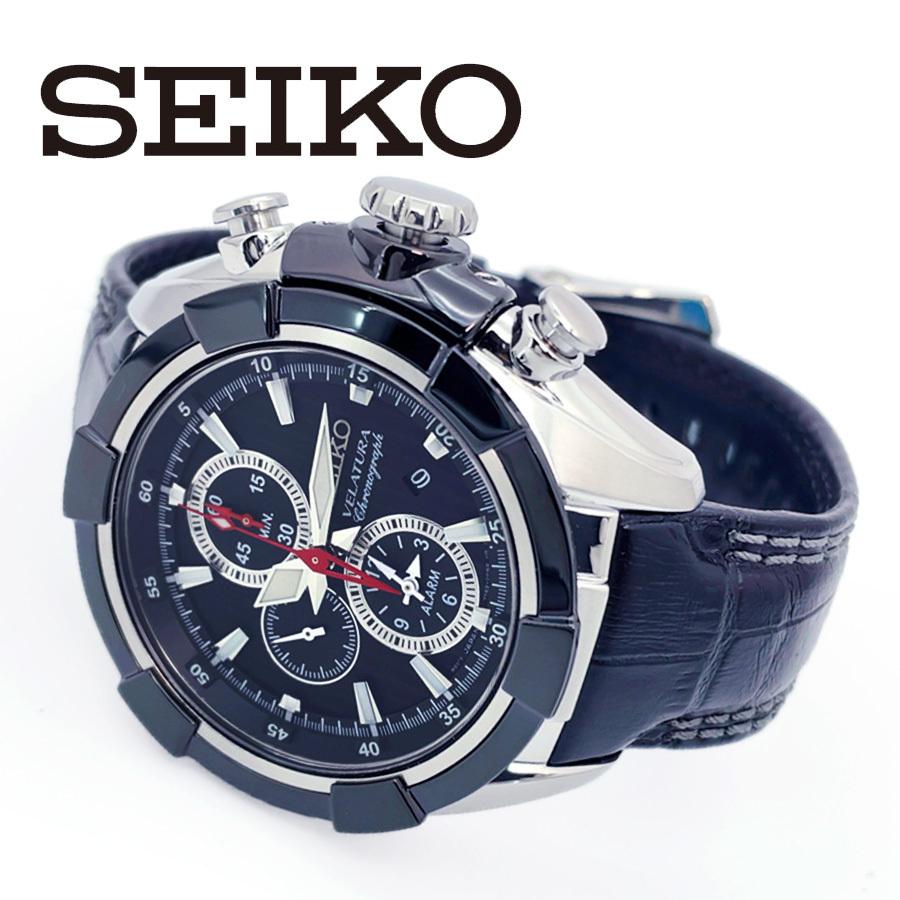 【1円】【新品正規品】SEIKOセイコーメンズ腕時計アナログベラチュラアラームクロノグラフレザーベルトカレンダー回転ベゼル10気圧防水_画像3