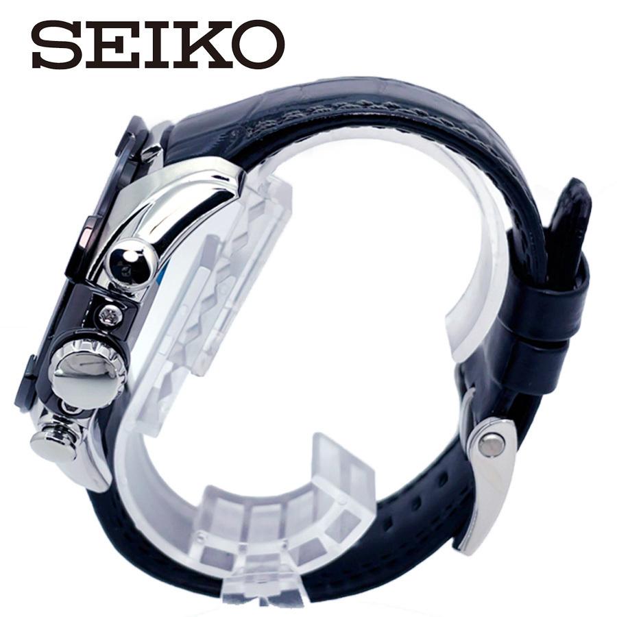 【1円】【新品正規品】SEIKOセイコーメンズ腕時計アナログベラチュラアラームクロノグラフレザーベルトカレンダー回転ベゼル10気圧防水_画像4