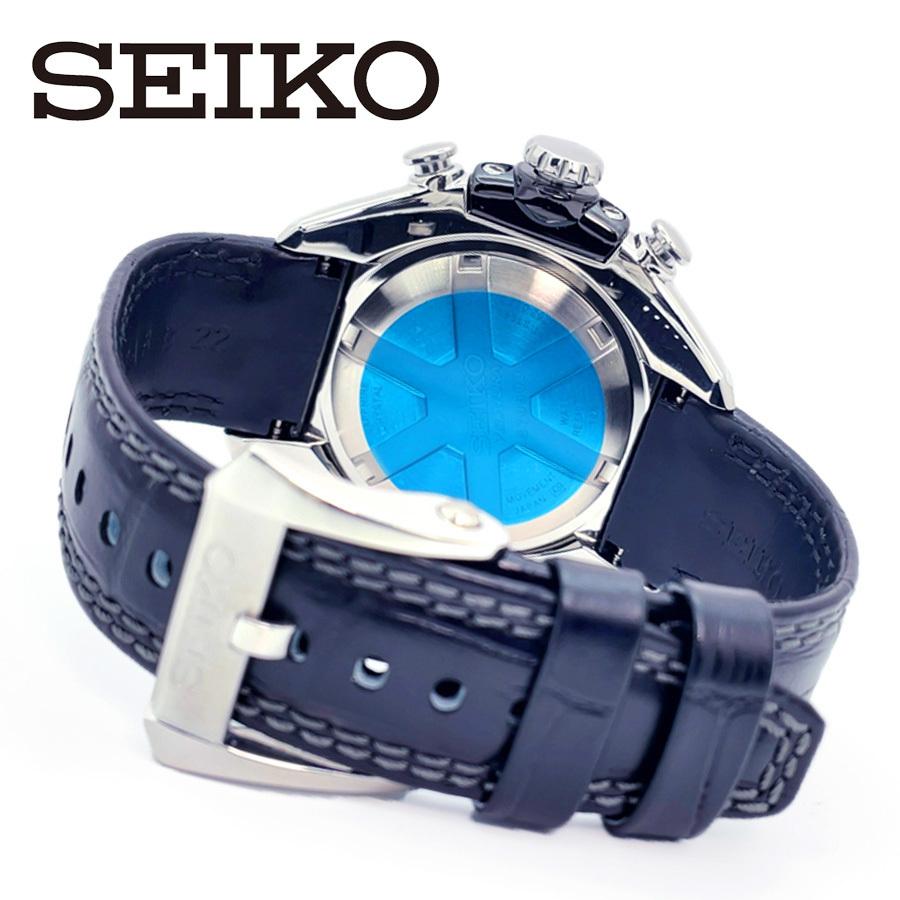 【1円】【新品正規品】SEIKOセイコーメンズ腕時計アナログベラチュラアラームクロノグラフレザーベルトカレンダー回転ベゼル10気圧防水_画像5