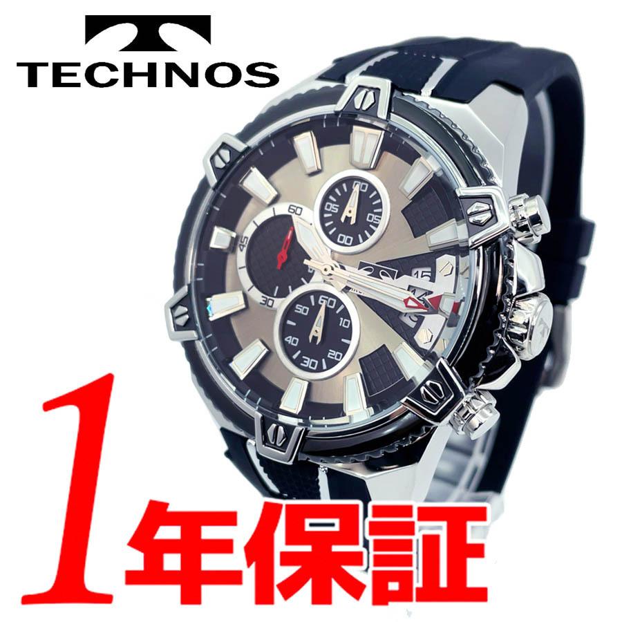 1円新品正規品テクノスTECHNOSメンズ腕時計男性10気圧防水多針アナログクリスタルガラスステンレスラバーベルトシルバーブラックゴールド_画像1