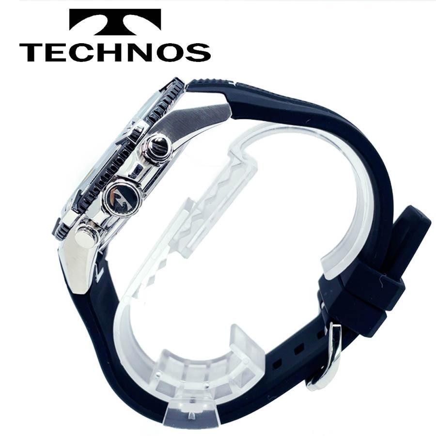 1円新品正規品テクノスTECHNOSメンズ腕時計男性10気圧防水多針アナログクリスタルガラスステンレスラバーベルトシルバーブラックゴールド_画像5