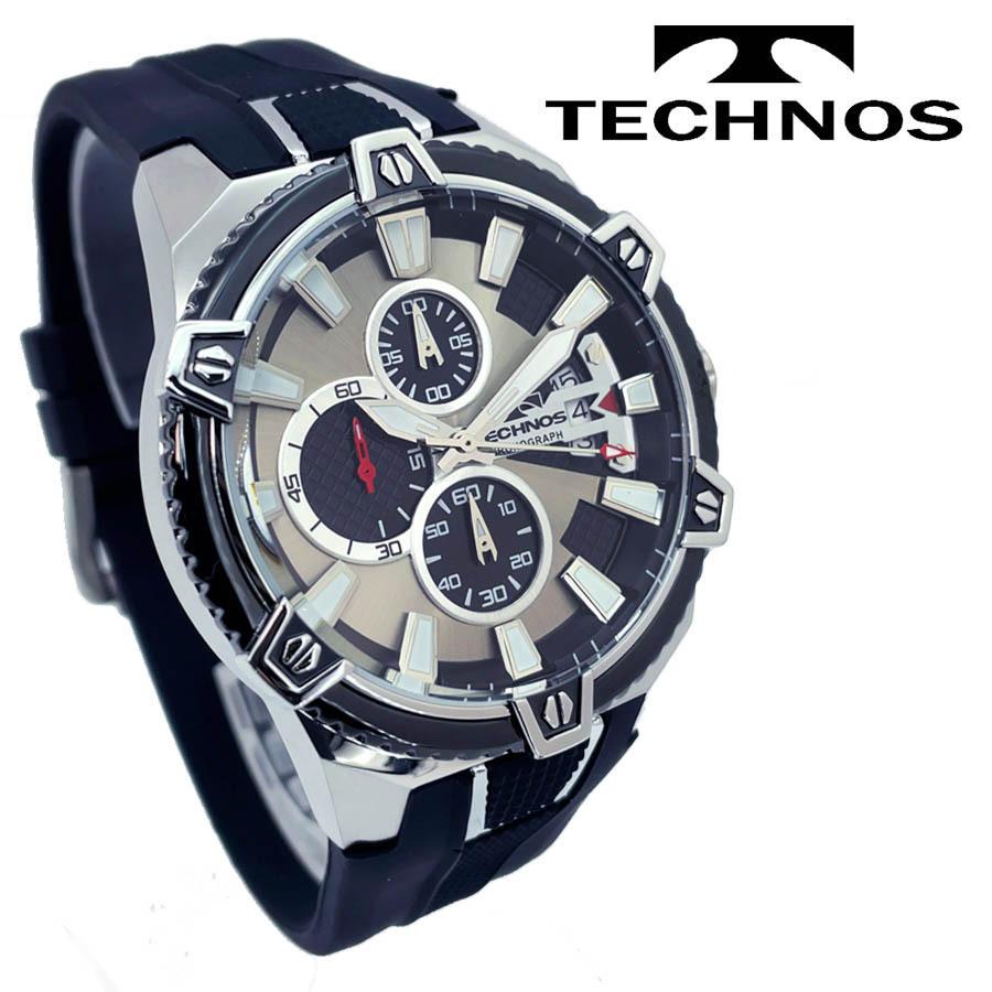 1円新品正規品テクノスTECHNOSメンズ腕時計男性10気圧防水多針アナログクリスタルガラスステンレスラバーベルトシルバーブラックゴールド_画像3