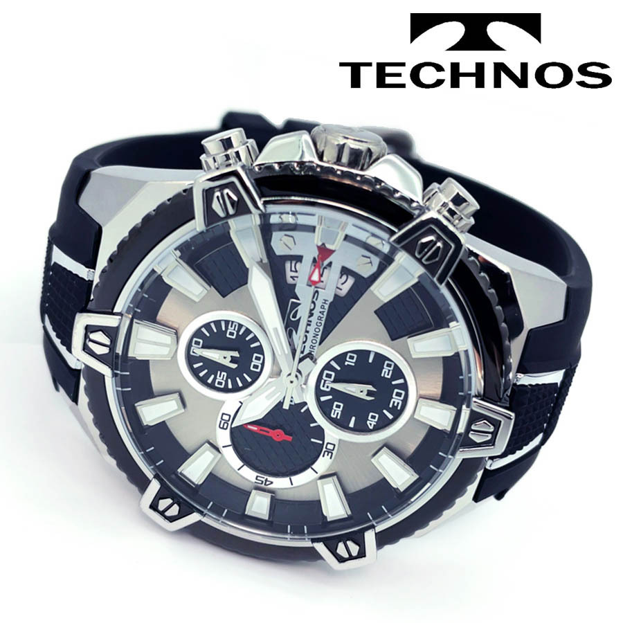 1円新品正規品テクノスTECHNOSメンズ腕時計男性10気圧防水多針アナログクリスタルガラスステンレスラバーベルトシルバーブラックゴールド_画像4