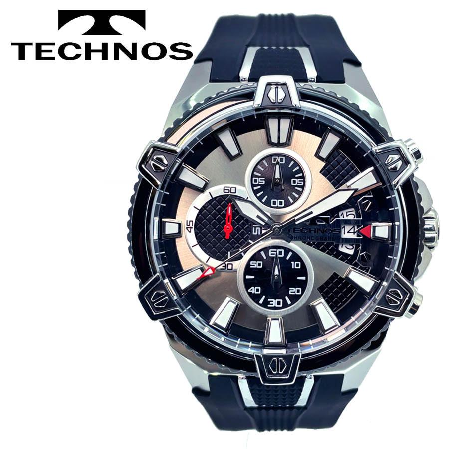 1円新品正規品テクノスTECHNOSメンズ腕時計男性10気圧防水多針アナログクリスタルガラスステンレスラバーベルトシルバーブラックゴールド_画像2