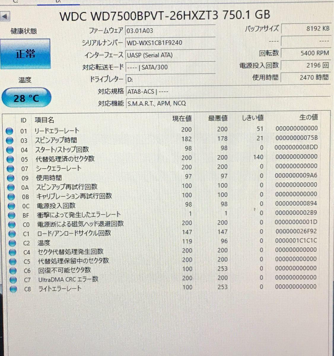 外付けハードディスク 750GB