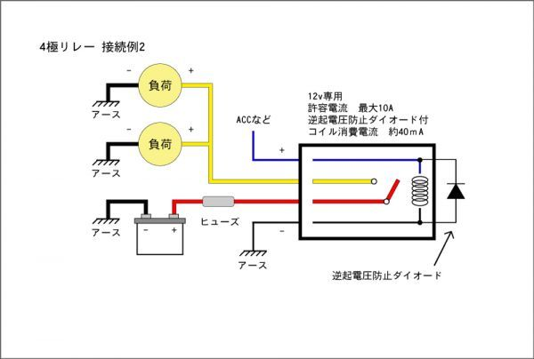 ■汎用 コンパクト4極リレー DC12v / 10A MAX120W 【逆起電圧保護付き】L4P-relay 電装品の切り替えに!_画像3