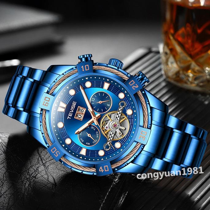 ★メンズ高級腕時計 46mm 機械式自動巻 カレンダー 曜日表示 トゥールビヨン 多機能 紳士ウォッチ お洒落 6色選択 ブルー◇_画像2