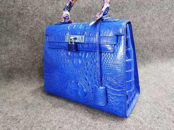 クロコダイル ワニ革 ! ハンドバッグ トートバッグ かばん 鞄 レディース鞄 シルバー金具 手提げ 職人手作 バッグ ブルー_画像2