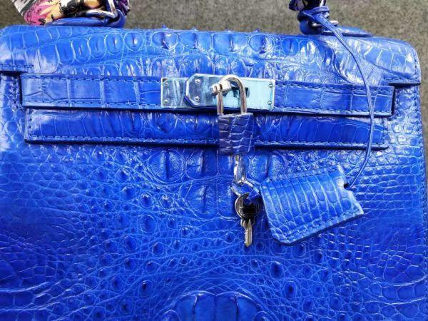 クロコダイル ワニ革 ! ハンドバッグ トートバッグ かばん 鞄 レディース鞄 シルバー金具 手提げ 職人手作 バッグ ブルー_画像5
