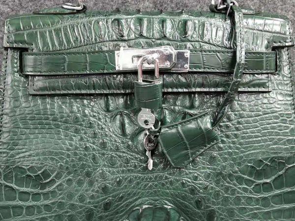 クロコダイル ワニ革! ハンドバッグ トートバッグ かばん 鞄 レディース鞄 シルバー金具 手提げ 職人手作 グリーン 緑_画像4