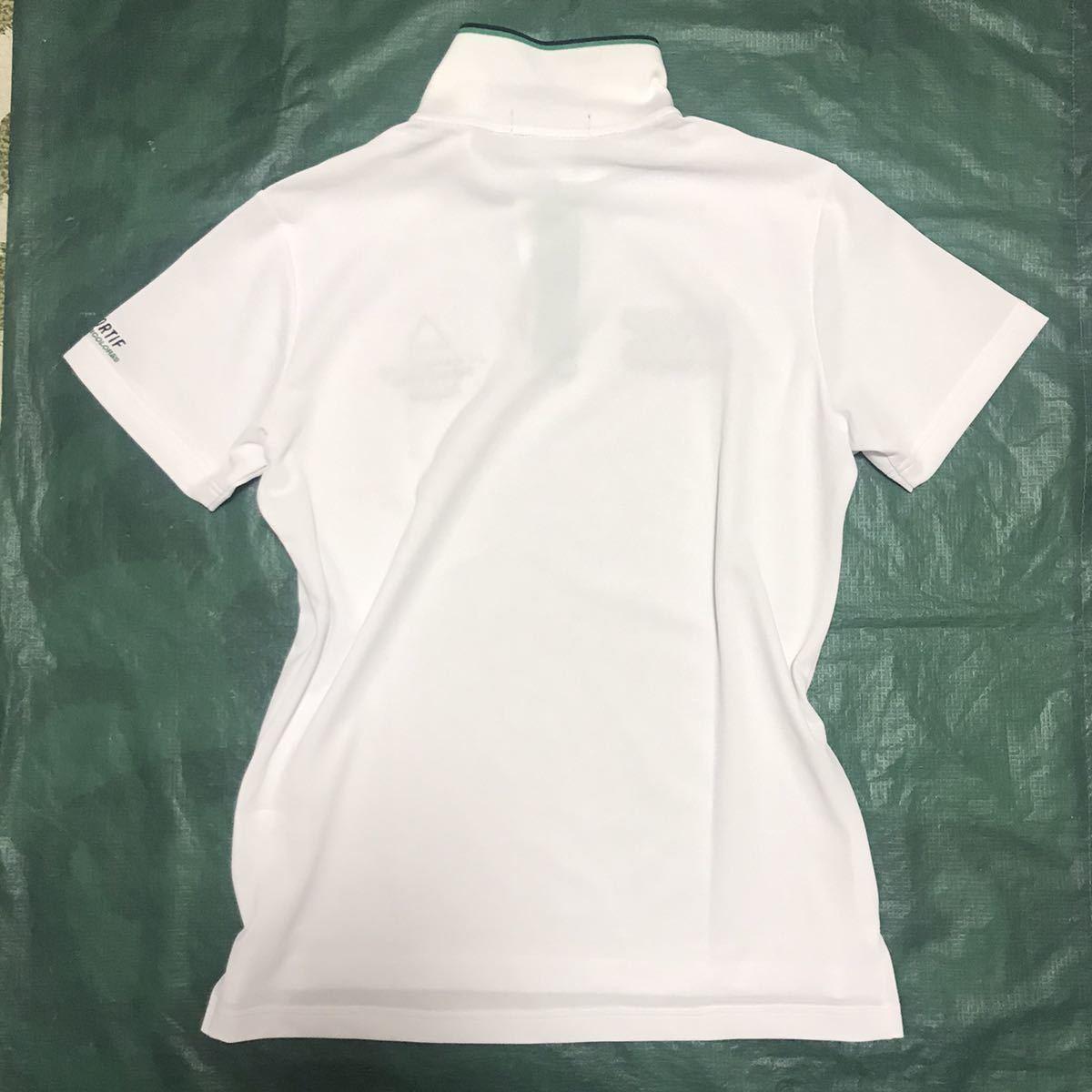 ♯新品【 O(XL)白ホワイト】高機能半袖ポロシャツ【le coq GOLF】ルコックゴルフ 吸汗速乾 グラフィック 4点刺繍ロゴ_画像4