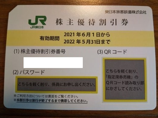 【送料込】JR東日本 株主優待割引券(2022.5.31期限) 1枚_画像1