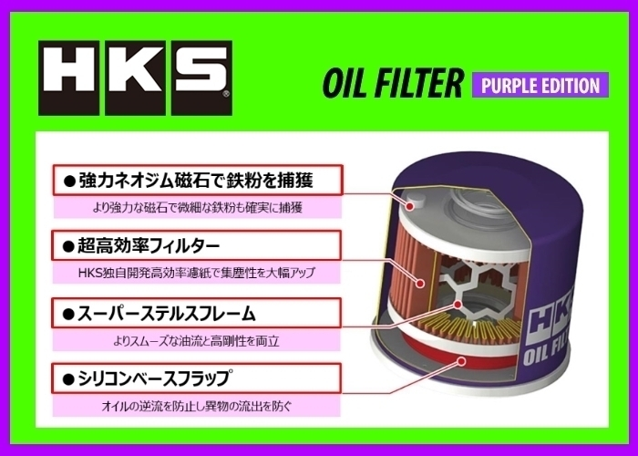 限定品 新品 HKS オイルフィルター パープルVer (タイプ7) ヴィッツ NCP95 H17/2~H22/12 2NZ-FE 52009-AK011V_画像2