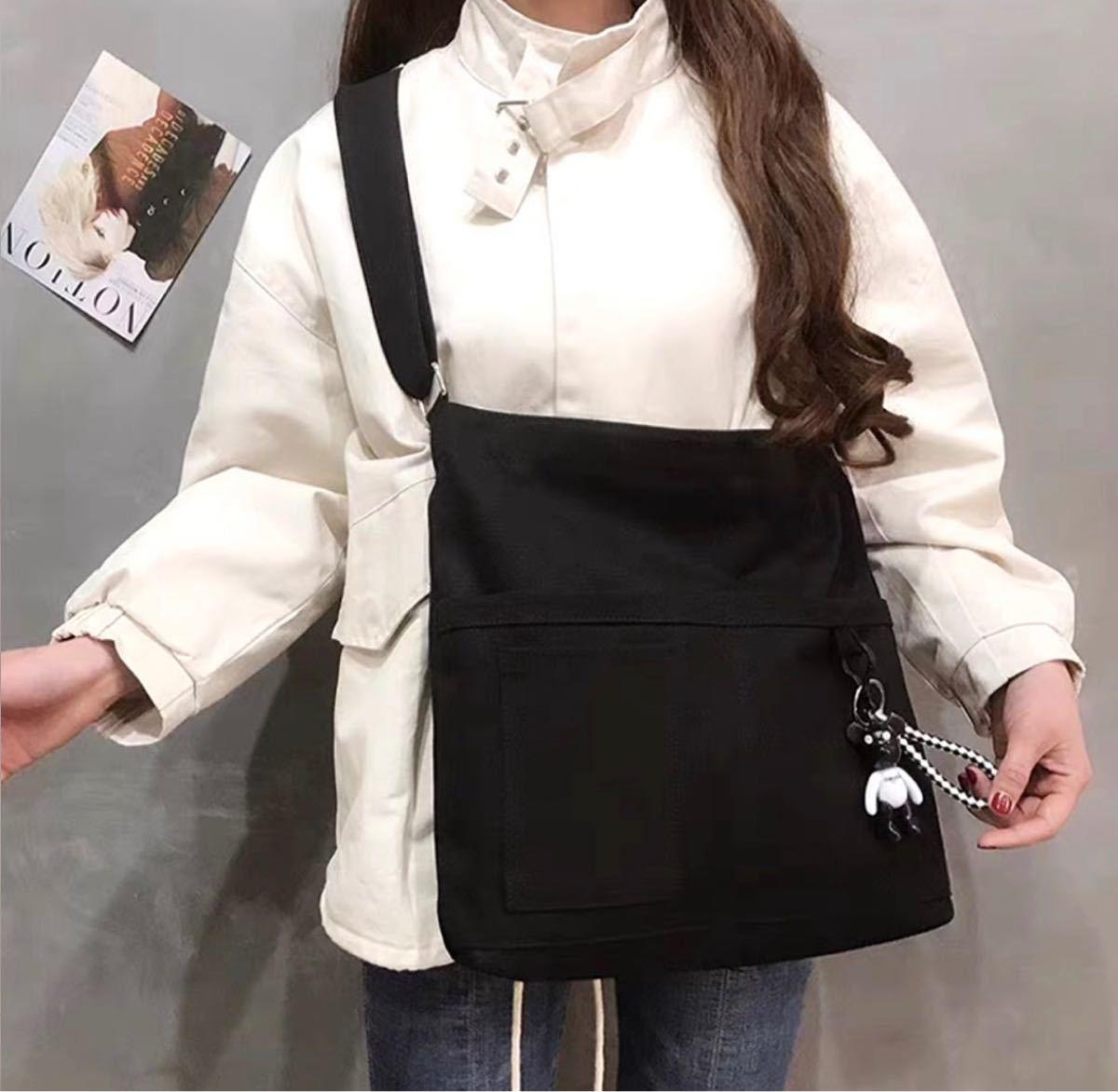 ショルダーバッグ キャンパストートバッグ サブバッグ 帆布バッグ ブラック 万能 韓国 ファッション 新品未使用