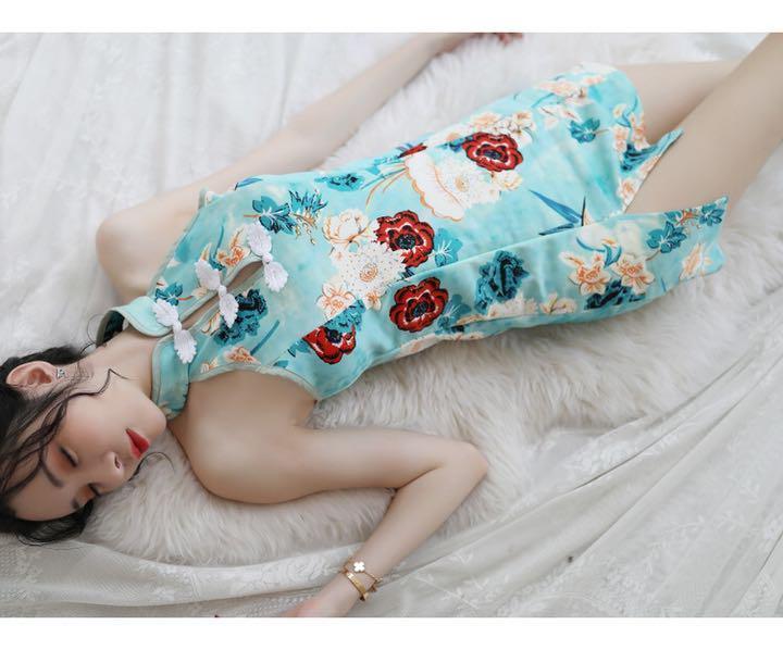 セクシーコスプレ チャイナドレス チャイナ服 エメラルドグリーン系 お花柄 衣装_画像10