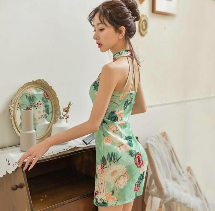 セクシーコスプレ チャイナドレス チャイナ服 エメラルドグリーン系 お花柄 衣装_画像3