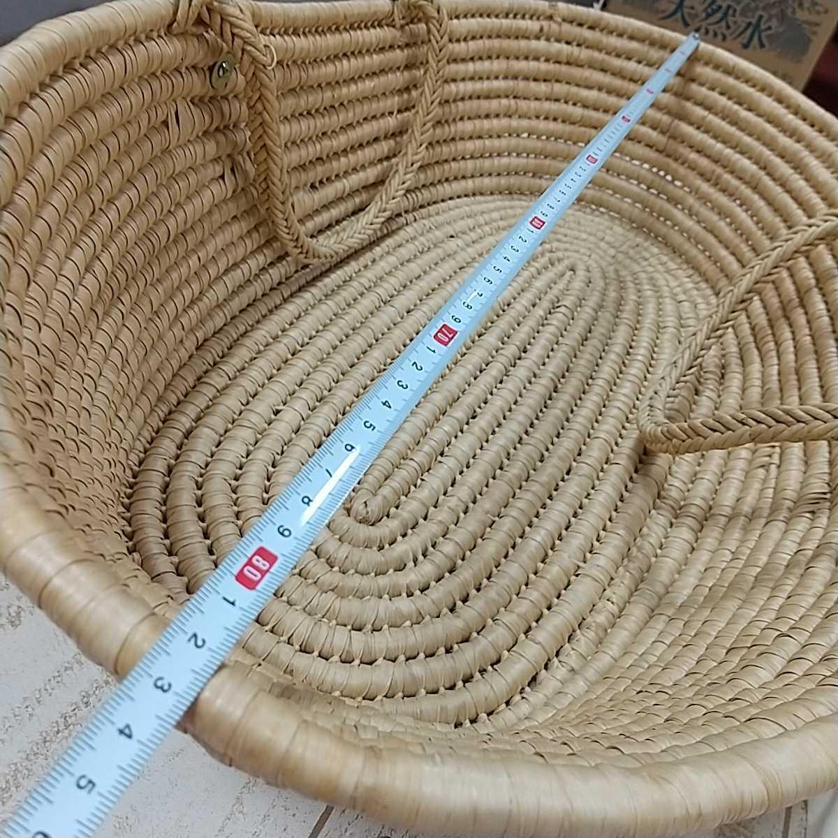9671 ベビークーハン ゆりかご 赤ちゃんキャリーベッド バスケット ナチュラル天然素材 お昼寝 持運び籠 昭和レトロ 83×53×24cm 同梱NG_画像2