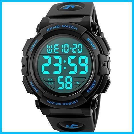 ★バンド色:ブルー★ Timever(タイムエバー)デジタル腕時計 メンズ 防水腕時計 led watch スポーツウォッチ アラーム_画像1