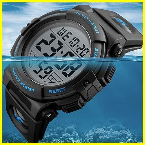 ★バンド色:ブルー★ Timever(タイムエバー)デジタル腕時計 メンズ 防水腕時計 led watch スポーツウォッチ アラーム_画像2
