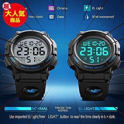 ★バンド色:ブルー★ Timever(タイムエバー)デジタル腕時計 メンズ 防水腕時計 led watch スポーツウォッチ アラーム_画像5