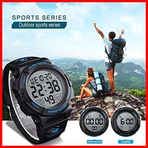 ★バンド色:ブルー★ Timever(タイムエバー)デジタル腕時計 メンズ 防水腕時計 led watch スポーツウォッチ アラーム_画像3