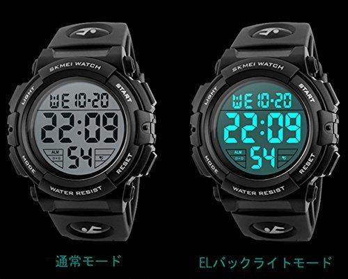 レッド Timever(タイムエバー)デジタル腕時計 メンズ 防水腕時計 led watch スポーツウォッチ アラーム ストッ_画像6