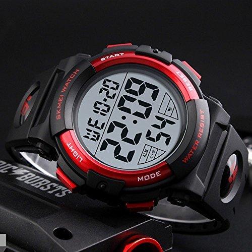 レッド Timever(タイムエバー)デジタル腕時計 メンズ 防水腕時計 led watch スポーツウォッチ アラーム ストッ_画像2