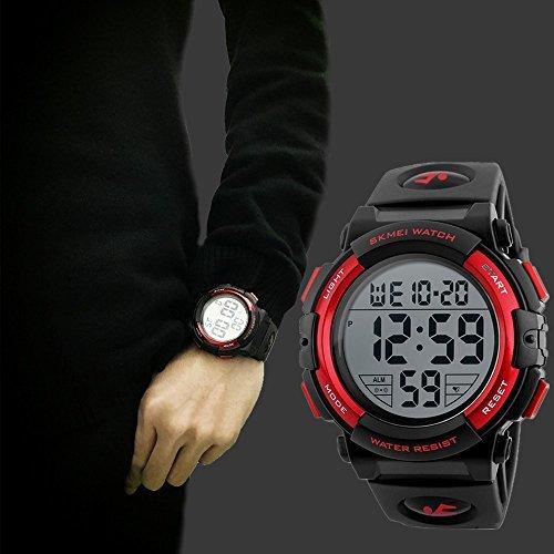 レッド Timever(タイムエバー)デジタル腕時計 メンズ 防水腕時計 led watch スポーツウォッチ アラーム ストッ_画像4