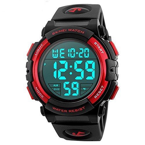 レッド Timever(タイムエバー)デジタル腕時計 メンズ 防水腕時計 led watch スポーツウォッチ アラーム ストッ_画像1